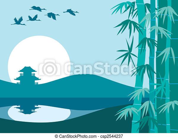 Bamboo, sun and temple - csp2544237