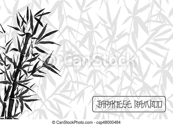 bamboo tree japanese plant or tree traditional sumi painting vector