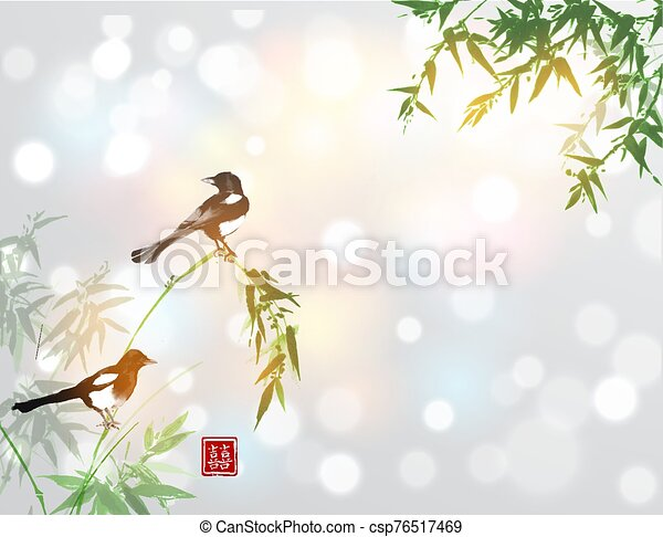 Bamboo trees and two magpies birds. Traditional oriental ink painting sumi-e, u-sin, go-hua. Hieroglyph - double luck. - csp76517469