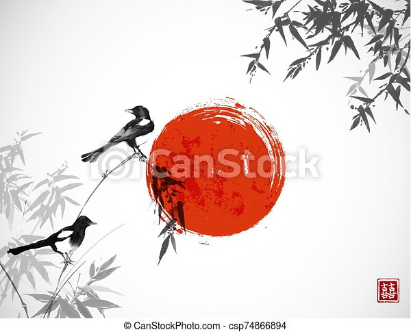 Bamboo trees and two magpies birds. Traditional oriental ink painting sumi-e, u-sin, go-hua. Hieroglyph - double luck. - csp74866894