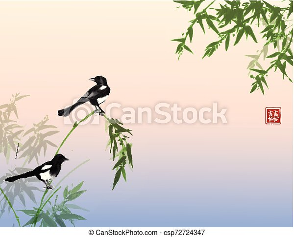 Bamboo trees and two magpies birds. Traditional oriental ink painting sumi-e, u-sin, go-hua. Hieroglyph - double luck. - csp72724347
