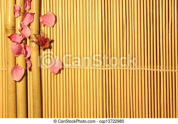 bamboo with a flower on the wooden background - csp13722980
