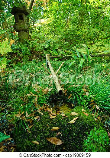 Bambou, fontaine, jardin japonais. Japonais jardin, traditionnel ...