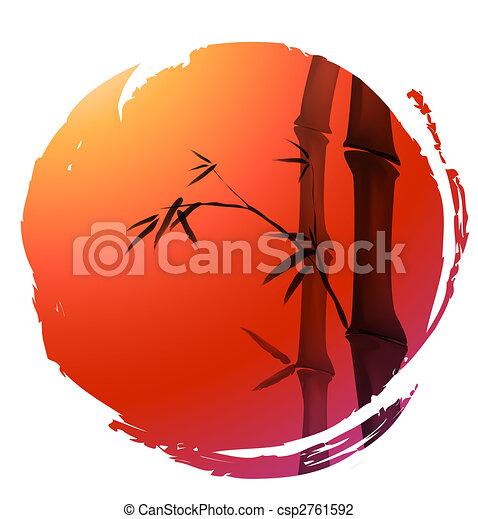 bambou, peinture, chinois - csp2761592