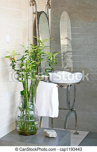 Bambus, Badezimmer Stockfoto