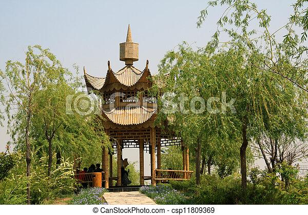 Bambus Pavillon Nord Park Tangshan Pavillon Bambus China
