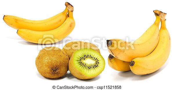 Banana and kiwi isolated on white - csp11521858