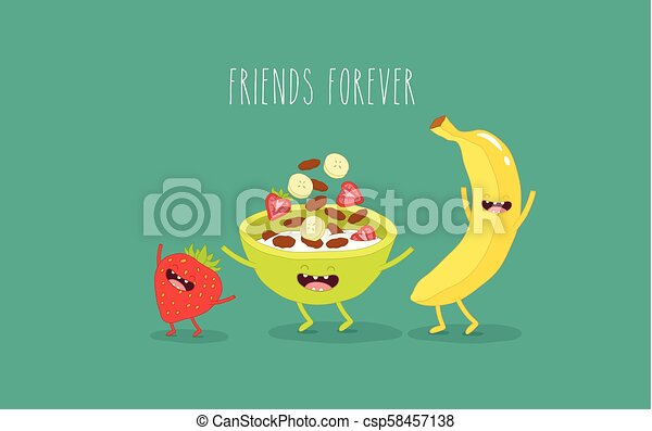 Banana, corn flakes and strawberries - csp58457138