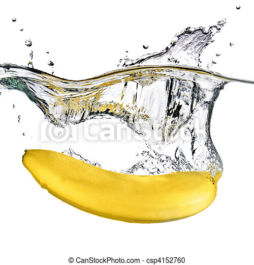 banana dropped into water isolated on white - csp4152760