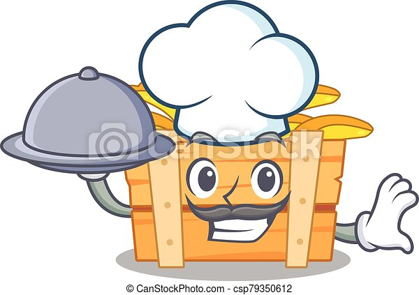 banana fruit box as a chef cartoon character with food on tray - csp79350612