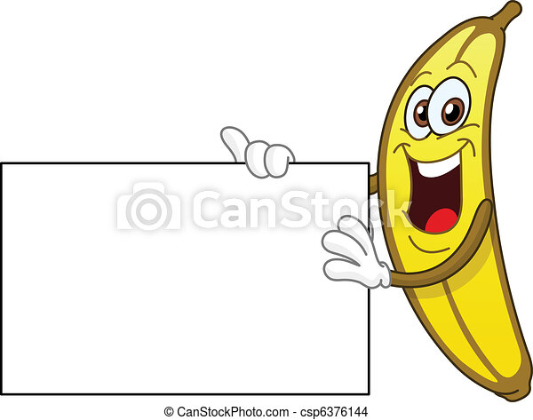 Banana holding a sign - csp6376144