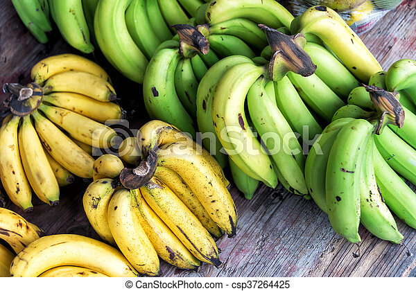 Banana in market palce with soft light - csp37264425