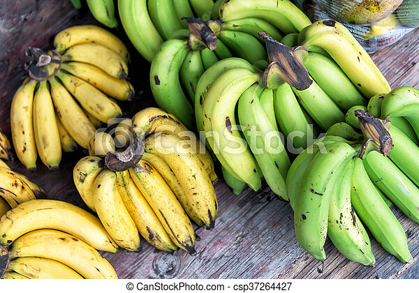 Banana in market palce with soft light - csp37264427