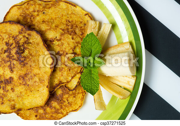 Banana pancakes dish - csp37271525