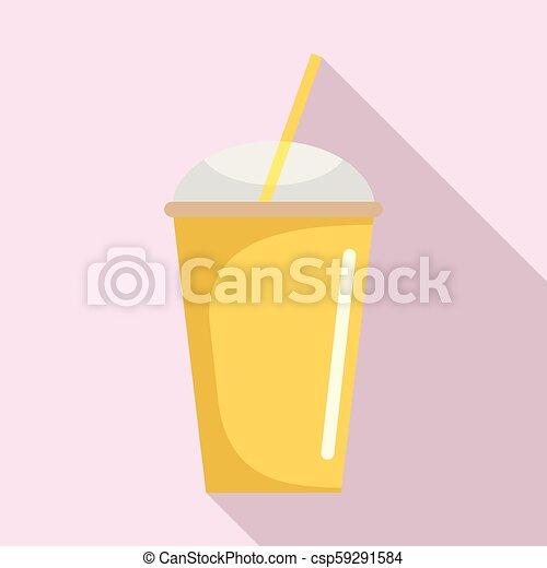 Banana smoothie icon, flat style - csp59291584