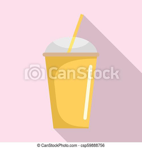 Banana smoothie icon, flat style - csp59888756