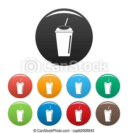 Banana smoothie icons set color - csp62908843