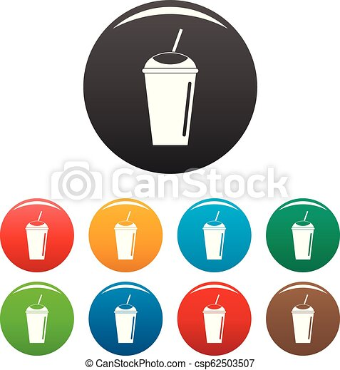 Banana smoothie icons set color - csp62503507