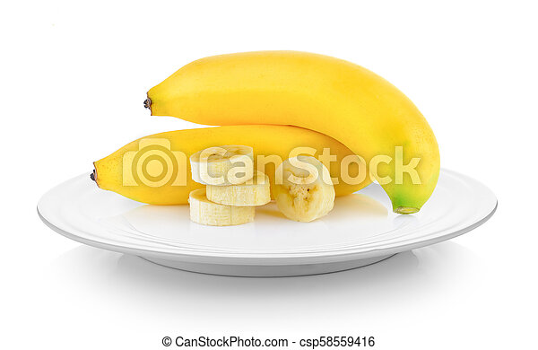 bananas in plate on white background - csp58559416