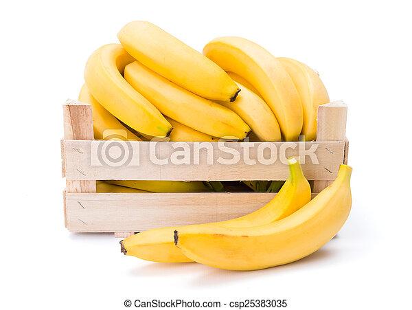 Bananas in wooden crate - csp25383035