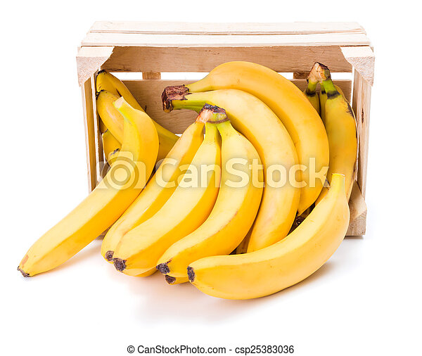 Bananas in wooden crate - csp25383036