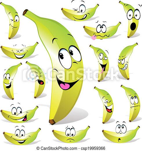 banane, dessin animé - csp19959366