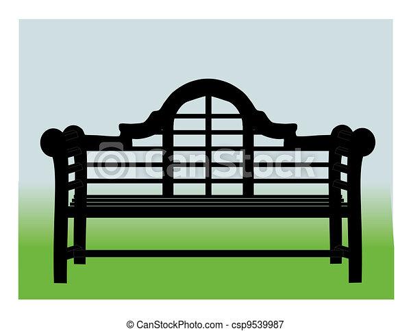 Banc jardin. Bleu, jardin, illustration, banc, oriental, fond, vert.