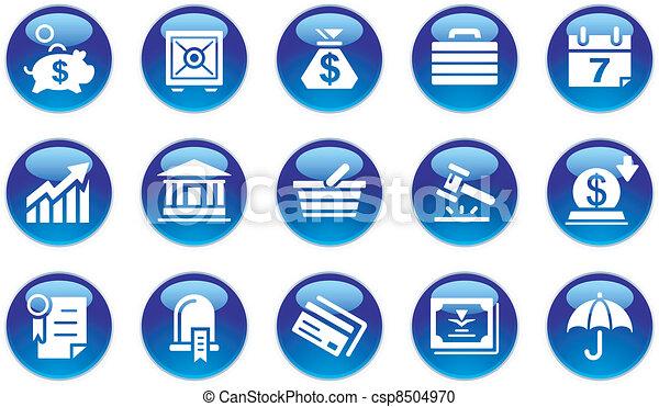 Los iconos de los negocios y los bancos - csp8504970