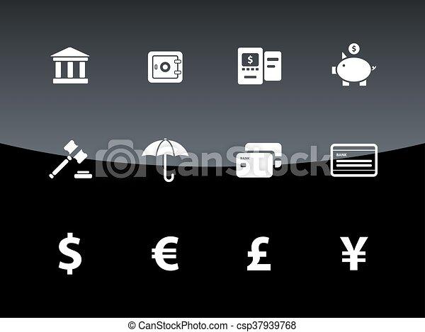 Iconos bancarios sobre fondo negro. - csp37939768