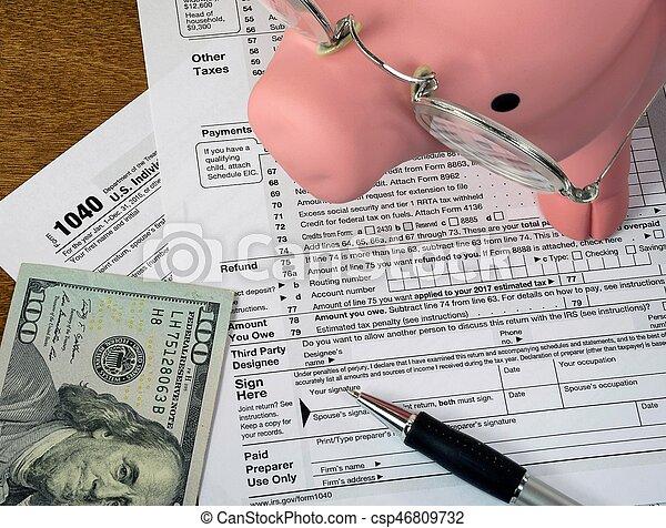 banco, imposto, piggy, forma, renda - csp46809732