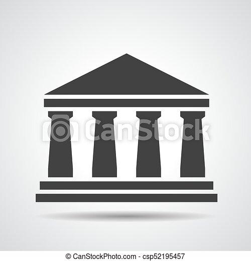 El icono del banco negro sobre un fondo gris - csp52195457