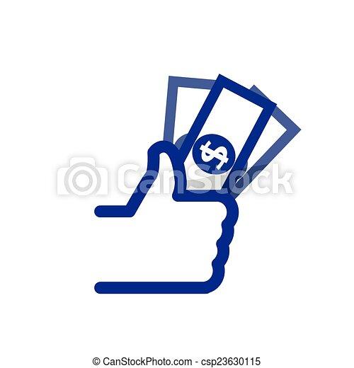 Al igual que/thumbs Up símbolo icono con el banco, vector - csp23630115