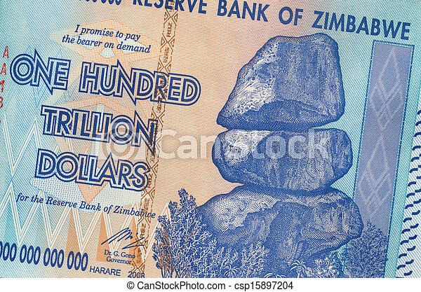 banconota, dollari, trillion, uno, zimbabwe, cento - csp15897204