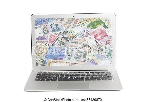 banconote, internazionale, laptop, valute, schermo - csp58439870