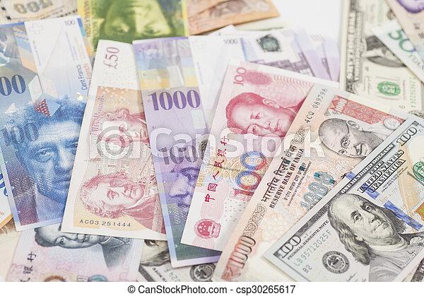 banconote, internazionale, valute - csp30265617
