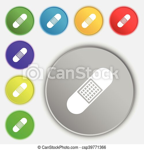 Band Aid Icon Sign Symbol On Eight Flat Buttons Vector Clip Art