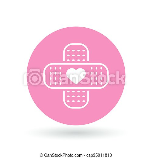 Band Aid Plaster Heart Icon Bandage Plaster Love Sign Band