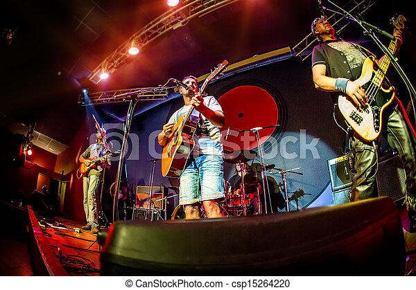 Band performs on stage - csp15264220