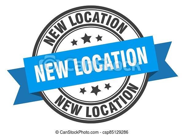band., stamp., nouveau, signe., rond, ruban, étiquette, emplacement - csp85129286