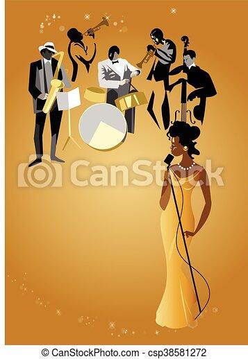 banda, cantante, jazz, femmina, & - csp38581272