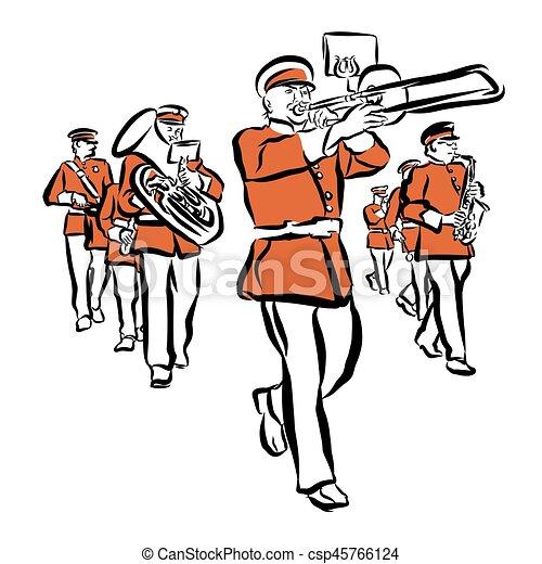Banda que marcha, coloreado, ilustración, rojo. Bosquejo, contorno ...