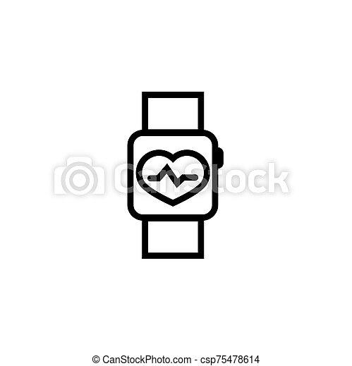 banda, tasa, muñeca, icono, monitor, corazón - csp75478614