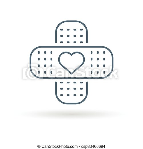 Bandaid heart icon white background - csp33460694