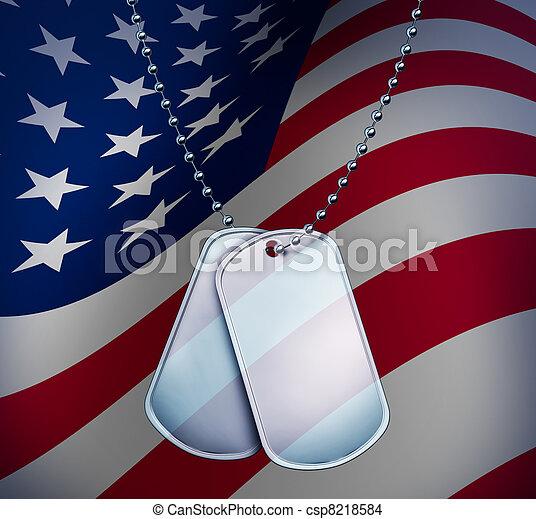 bandeira americana, cão, etiquetas - csp8218584
