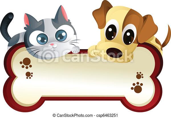 bandeira, cão, gato - csp6463251
