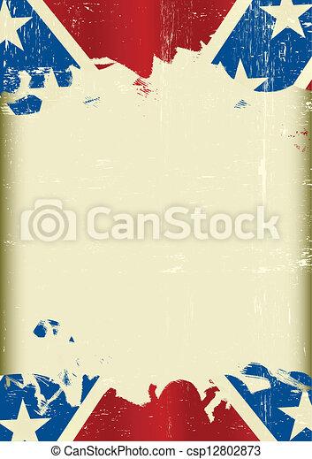 bandeira, grunge, confederado - csp12802873