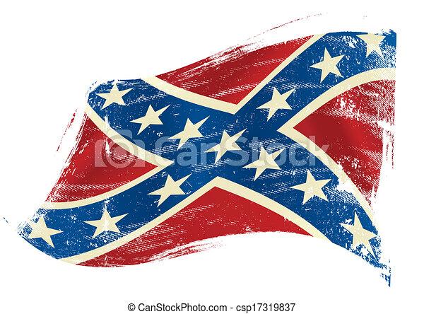 bandeira, grunge, confederado - csp17319837