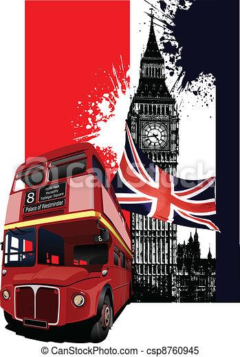 bandeira, grunge, londres, autocarro - csp8760945