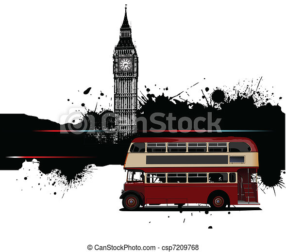 bandeira, grunge, londres, autocarro - csp7209768