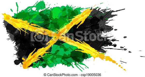bandeira jamaica, feito, esguichos, coloridos - csp19005036